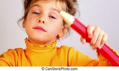 crayon, peu, grand sourire, girl, prise