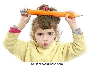 crayon, peu, grande main, fille sérieuse