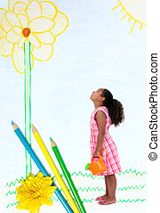 crayon, peu, jardin, girl, dessiné