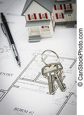 crayon, plans, reposer, clés, maison, maison modèle