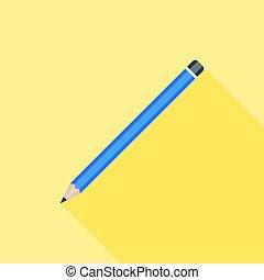 crayon, plat, long, conception, icône, ombre