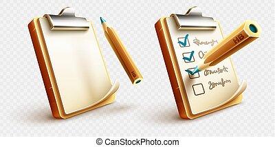crayon, presse-papiers, choses, liste contrôle, icônes