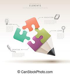 crayon, puzzle, infographic, gabarit, créatif