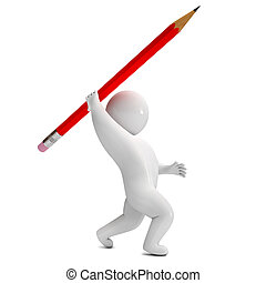 crayon, render, lance, 3d