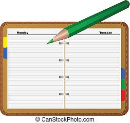 crayon, revêtu, bloc-notes, page
