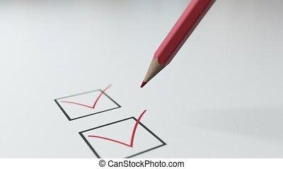 crayon rouge, carrés, liste contrôle, volonté, tique, noir