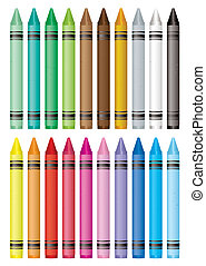 crayon selection - Selection of many wax crayons with...