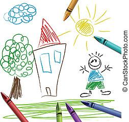 Crayon set with kid drawing