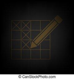 crayon, signe., ampoule, illustration., petit, mots croisés, grille, lumière, orange, darkness., icône