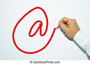 crayon, signe., homme, écriture, e-mail, main, word: