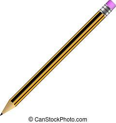 crayon, simple, isolé, illustration, élastique, vecteur, fond, blanc