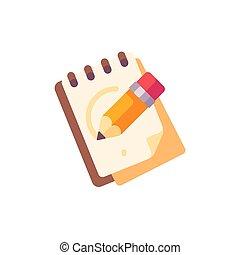 crayon, sketchpad, icône, plat