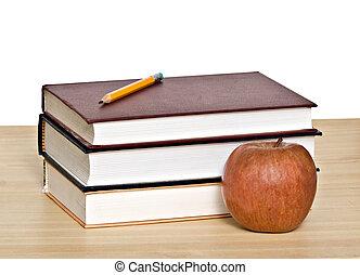 crayon, sommet, livres, pomme, rouges