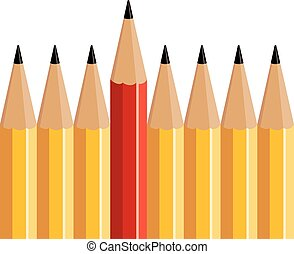 crayon, stands, rouges, dehors