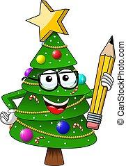 crayon, style, ou, toile, symbole, caractère, isolé, illustration, noël, mascotte, vecteur, tenue, blanc, noël heureux, dessin animé, stockage