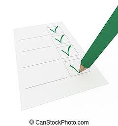 crayon, stylo, vert, chèque, 3d