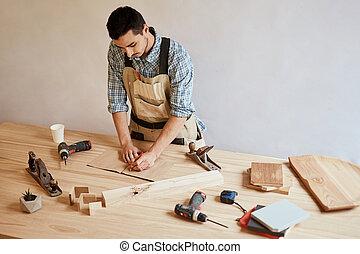 crayon, table, traite, plan, utilisation, confection, outils, homme