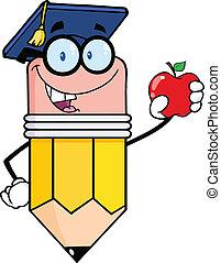 crayon, tenue, pomme rouge