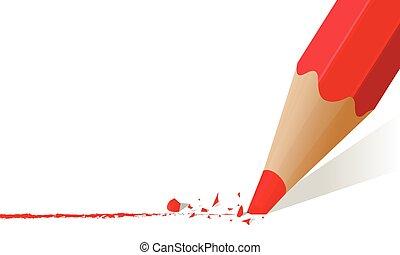 crayon, tige, rouges, cassé
