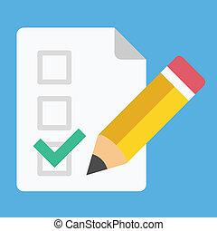 crayon, tique, vecteur, formulaire, icône