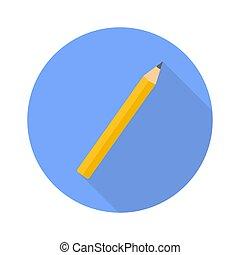 crayon, toile, plat, conception, ombre, icône