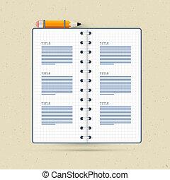 crayon, vecteur, cahier