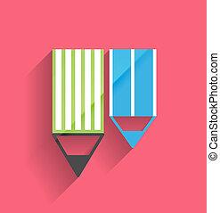 crayon, vecteur, conception, icône, plat
