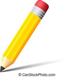 crayon, vecteur, gomme, jaune, icône