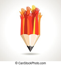 crayon, vecteur, heureux, mains