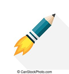 crayon, vecteur, illustration., fusée, fire.
