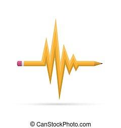 crayon, vecteur, illustration., symbole, ondulé, heartbeat.