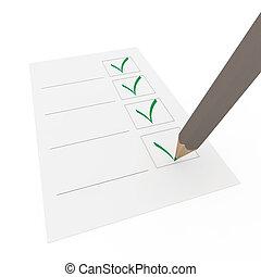 crayon, vert, chèque, 3d