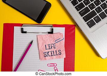 crayon, vie, concept, feuille, presse-papiers, entiers, skills., texte, ordinateur portable, écriture, note, arrière-plan., smartphone, mot, nécessaire, compétence, clips, business, journalier, participation, coloré