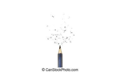 crayon, voler, lettres, dehors