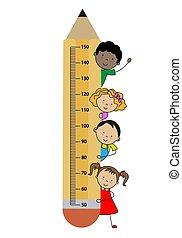 crayon, wall., enfants, mètre
