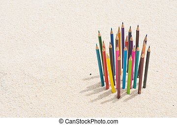crayon wood color on the beach