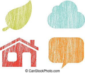 Crayon Word Bubbles - Set of 4 Nature icons with a crayon...
