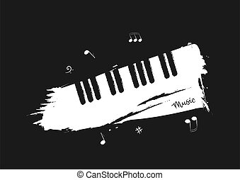 crayon, words., notes, noir, style, clés, fond, musique, blanc, musical, sketch., piano