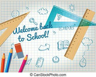 crayons, école, affiche, dos, règles, doodles