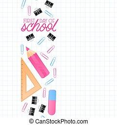 crayons, école, cahier, disposition, bannière, escompte, achats, affiche, sheet., étiquettes, dos, texte, vente, arrière-plan., multicolore, autre, endroit, prospectus, fournitures