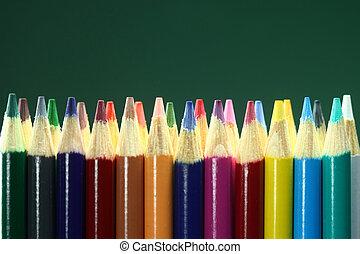 crayons, école, coloré, champ, profondeur, extrême