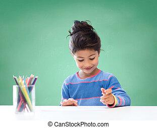 crayons, école, coloration, girl, dessin, heureux