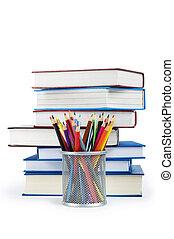 crayons, école, concept, livres, dos
