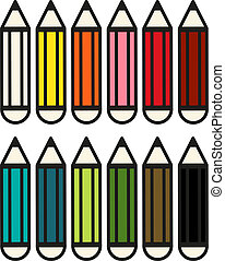 crayons, 12, ensemble, coloré