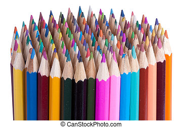 crayons, 144, blanc, coloré, isolé