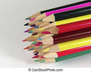 crayons, 2, coloré