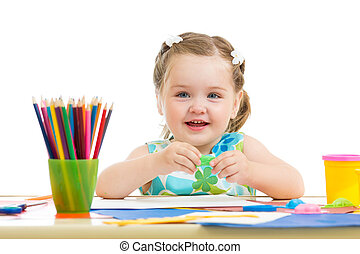 crayons, agréable, dessin, coloré, enfant