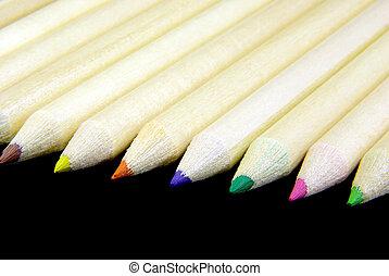 crayons, aligné, 2