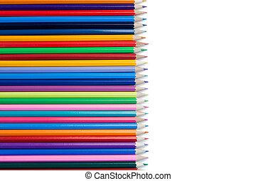 crayons, alignement, couleur, horzontal