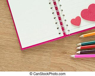 Crayons, Amour, cœurs, couleur,  concept,  valentines, plancher, valentin, bois, agenda, rouges, fond, Livre, jour